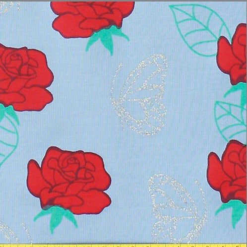 French Terry Rosen mit Glitzer Schmetterling hellblau
