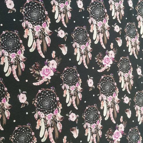 Baumwolljersey Traumfänger schwarz / rosa