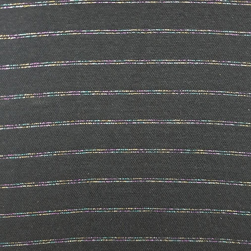 Lurex Bündchen Glitzer rainbow stripes schwarz