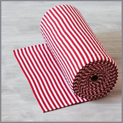 Feinripp Streifen weiß/rot 8mm