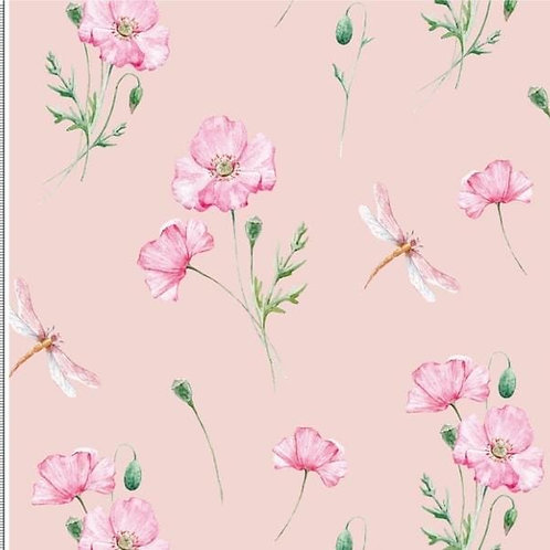 Baumwolljersey Libelle im Mohn rose