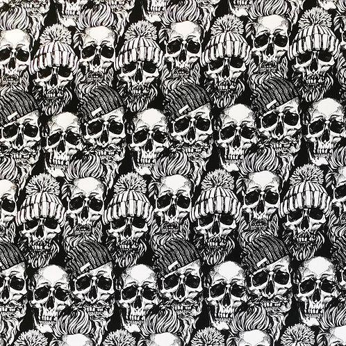French Terry Hipster Skulls schwarz/weiß