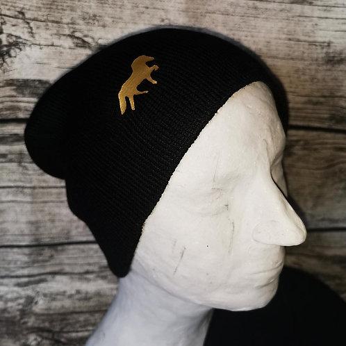 Wollmütze schwarz mit Tölter