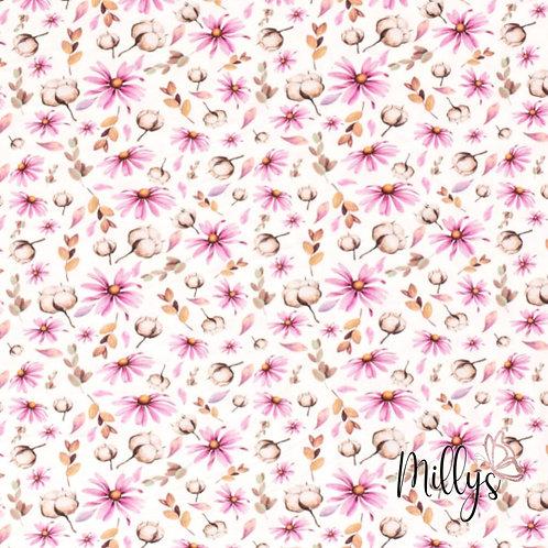 Baumwolljersey Streublumen Margeriten Baumwollknospe pink