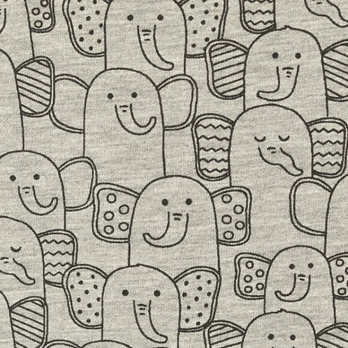 French Terry samtig Elefantenherde grau meliert