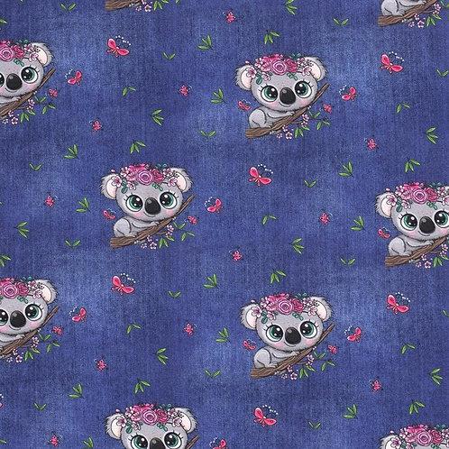 Baumwolljersey Koala jeans dunkel