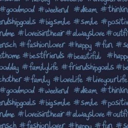 Baumwolljersey Hashtag blau