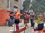 Live backyard concert with
