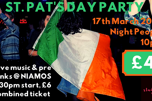 COMBINED TICKET: Niamos and St Pat's party