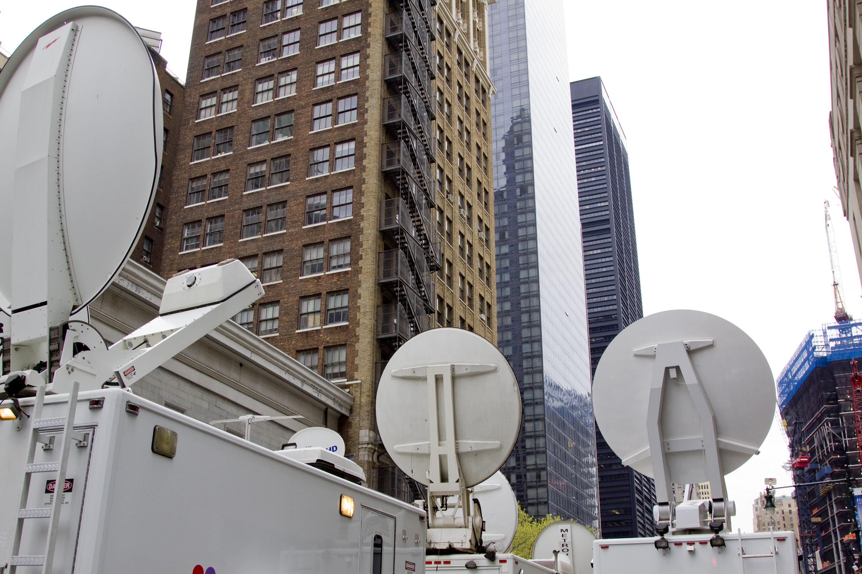 Television media trucks with satellite d