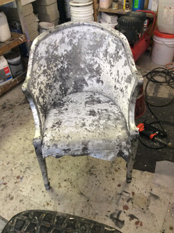 Reupholstered and Silver Leaf