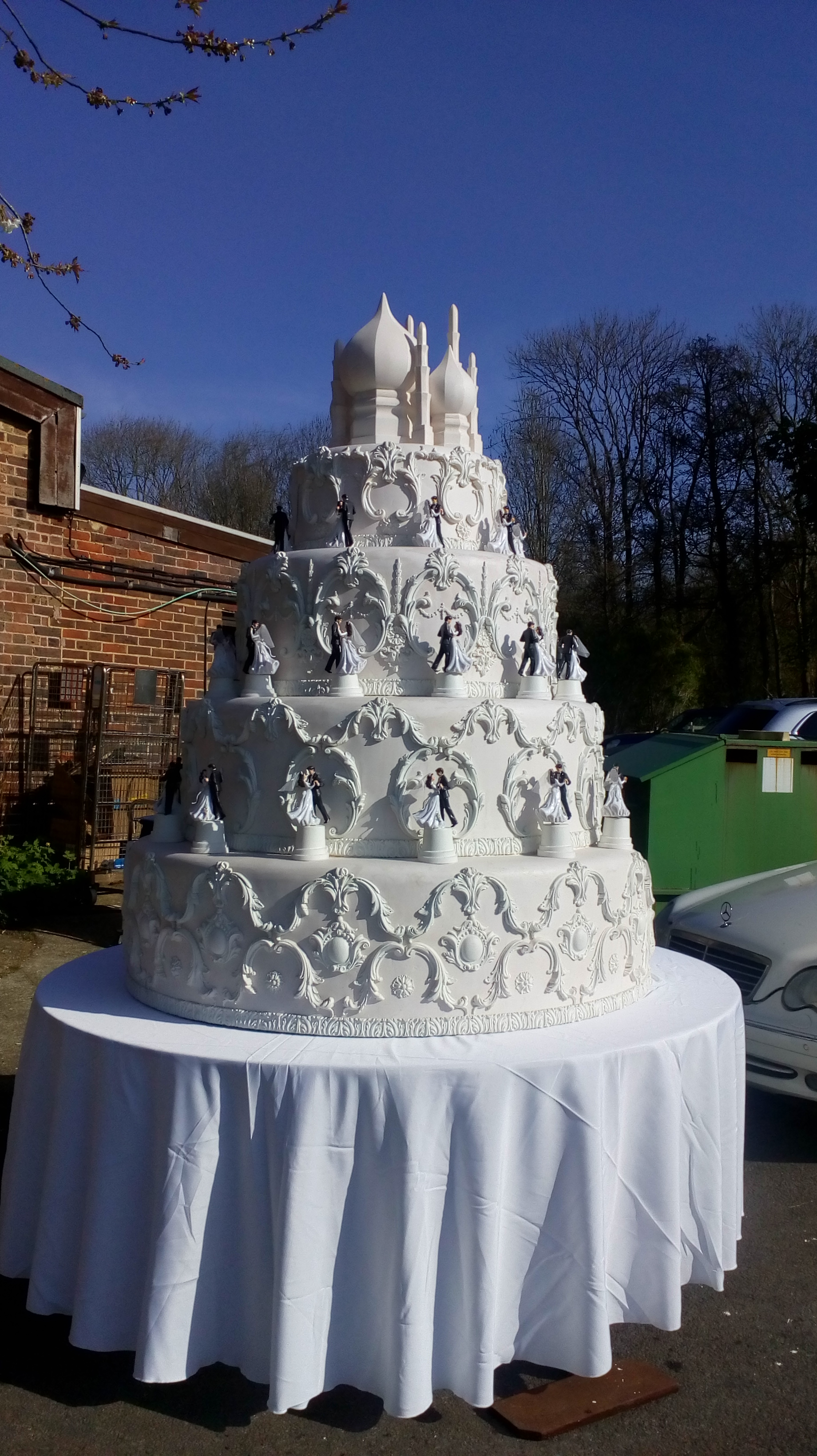 Oversized wedding cake