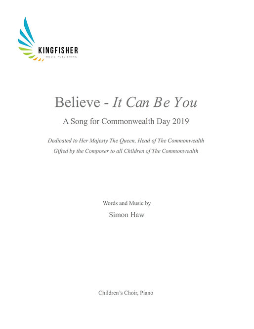 Believe - It Can Be You - Children's Choir, Piano