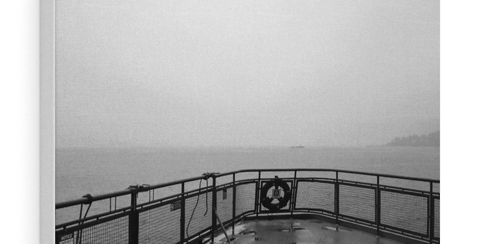 Foggy Ferry Canvas Print (Black and white)