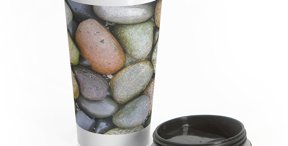 Beach Stones Reusable Stainless Steel Travel Mug