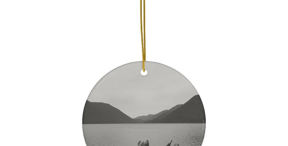 Lake Crescent Ceramic Ornament