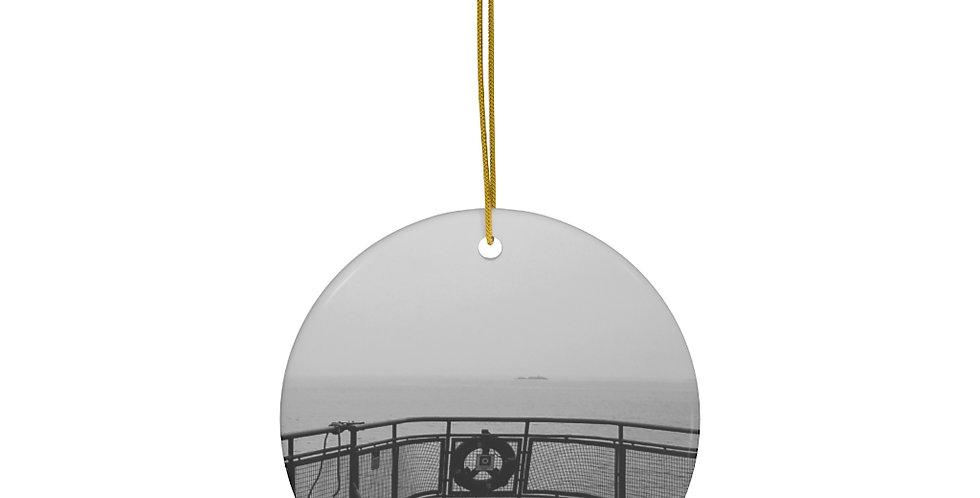 Foggy Ferry Ceramic Ornament