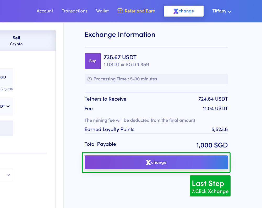 Review the details and confirm the exchange to USDT