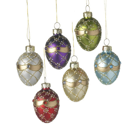 Set of 6 Multi Coloured Glass Baubles