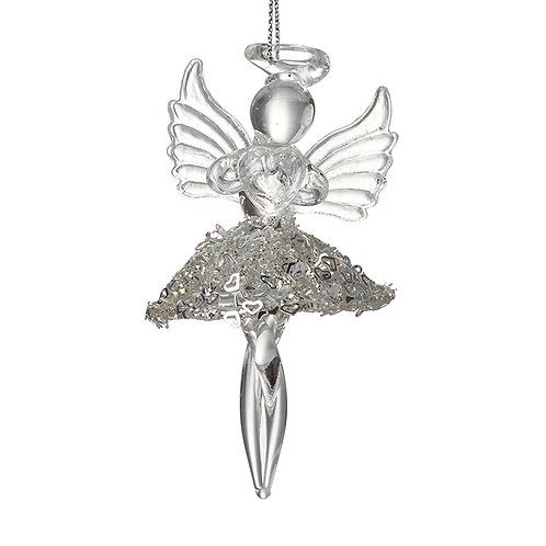Glass Hanging Angel with Skirt
