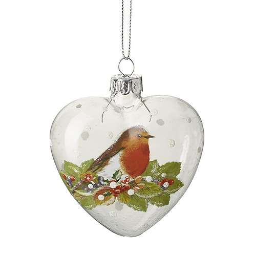 Painted Robin Glass Heart Bauble
