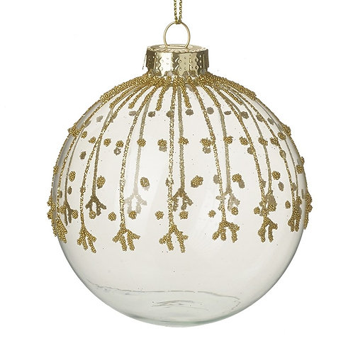 Gold Glitter Decorated Glass Bauble