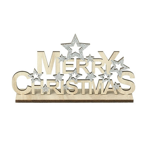 Merry Christmas Wooden Plaque with Stars