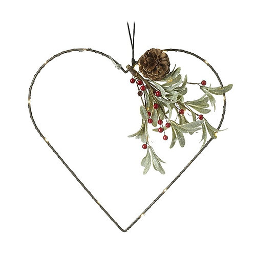 Light up Heart with leaves and red berries