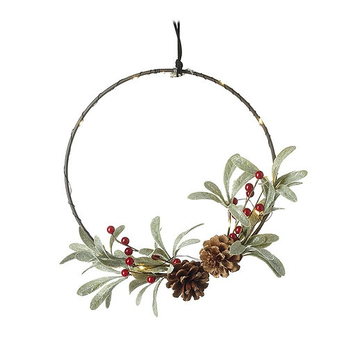 Light up Wreath with leaves and pinecones