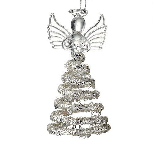 Glass Hanging Angel with Decorative Skirt