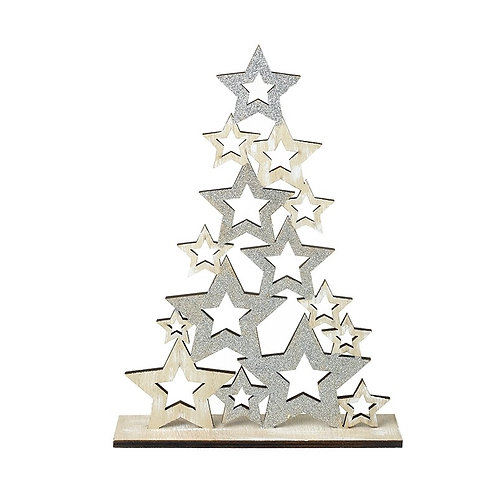 Silver and Wooden Star Tree
