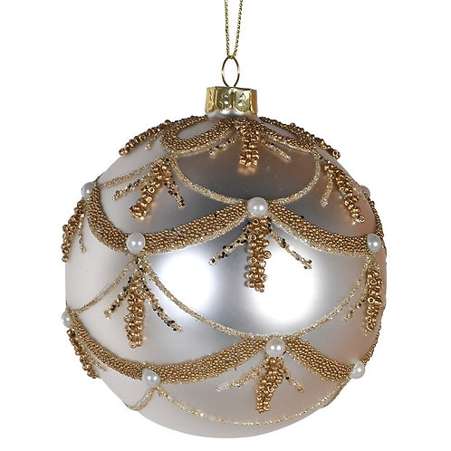 White Bauble with Gold Swags