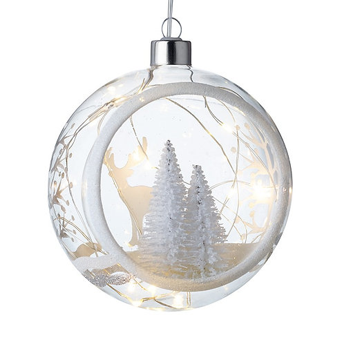 Large Light Up Glass Bauble with Trees