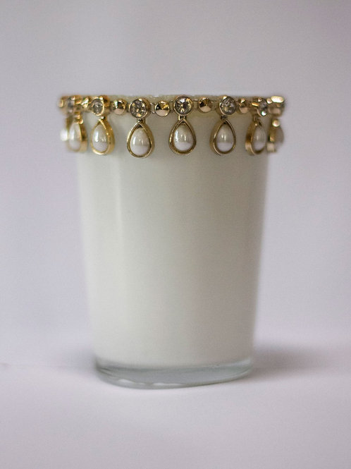 White Jewelled Tealight Holder