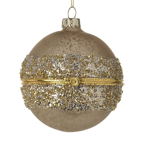 Gold Casket Bauble with Glitter