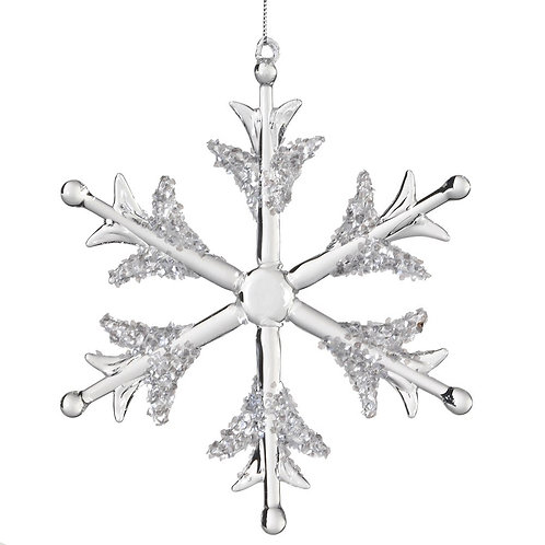 Glass Snowflake with White Glitter