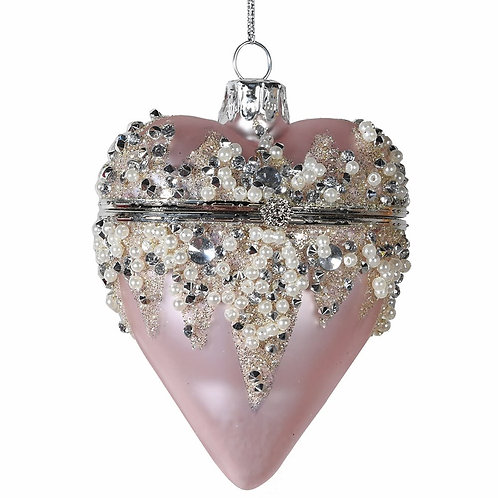 Pink Hanging Heart Box Bauble