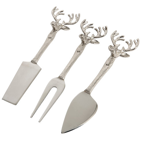Set of 3 Stag Head Cheese Knives