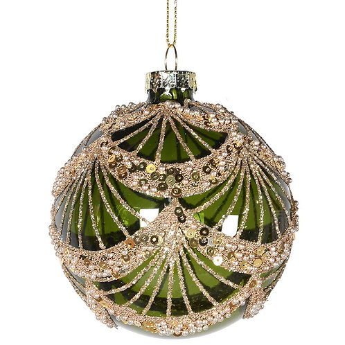 Green and Gold Swag Bauble
