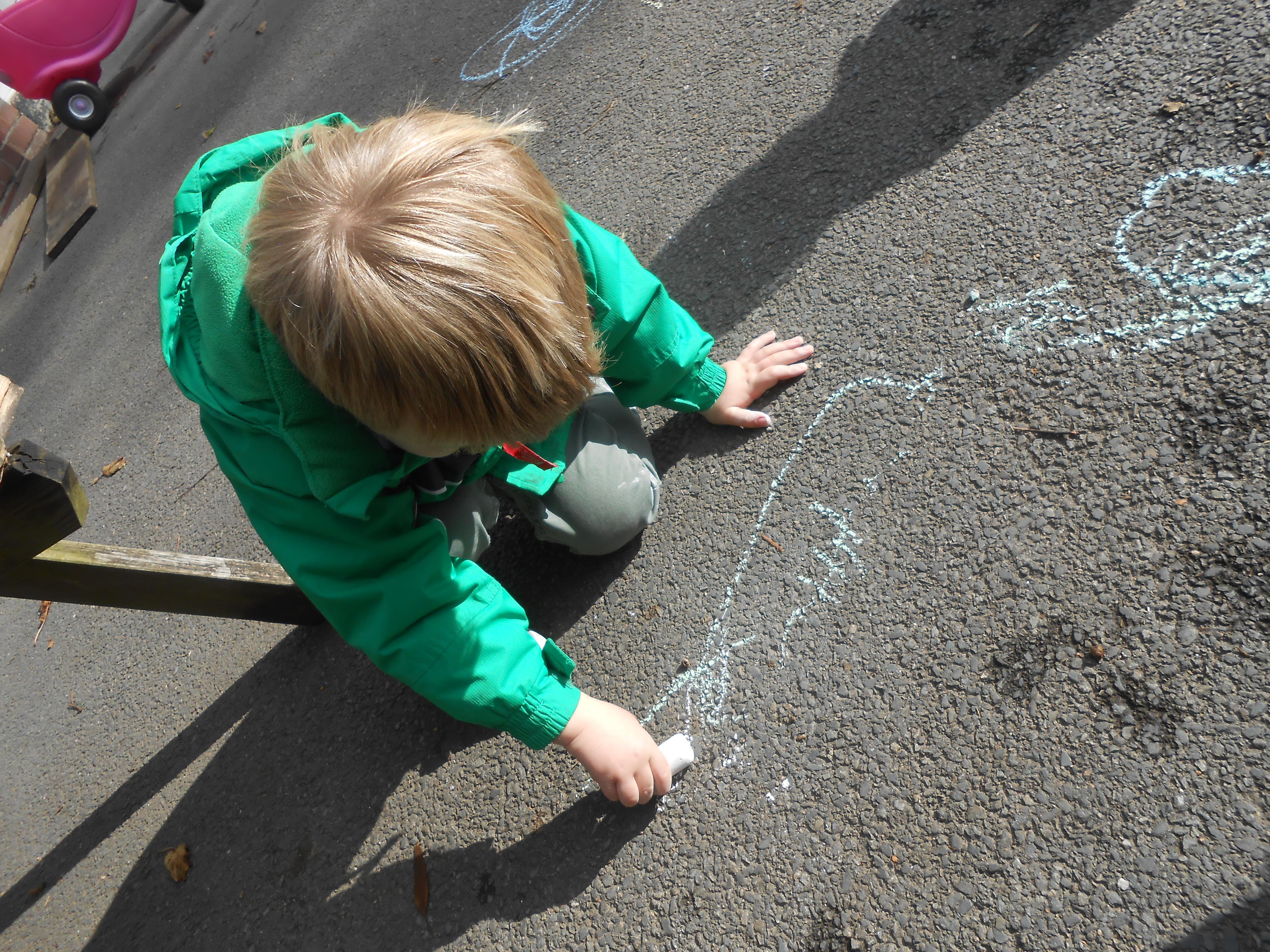 Chalks on the playground