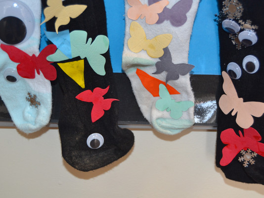 Silly Socks for Seth! Look what Upstairs have been doing...