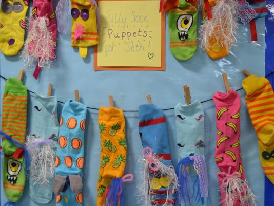 Silly Socks for Seth...Kindergarten's Display