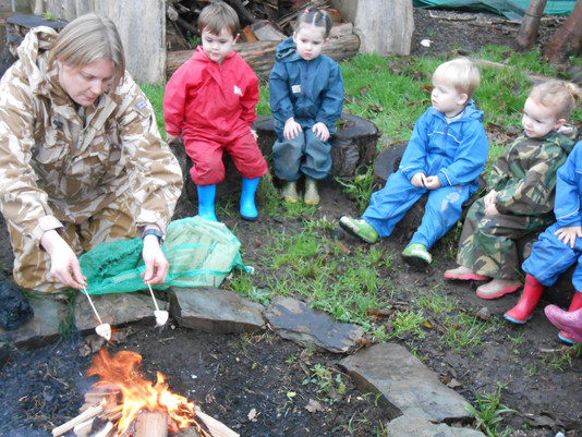 Toasting Marshmallows in Forest School