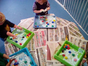Colour Mixing & Ice Cubes Mixed with Shaving Foam