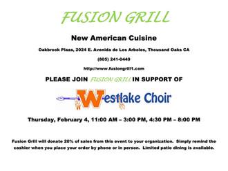 Fusion Grill Fundraiser!