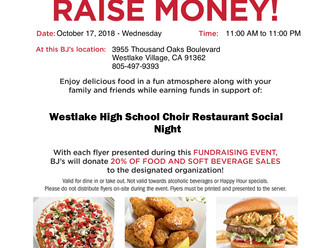 BJ's Restaurant Night! You gotta eat, so why not support some teenage singers while you do it?