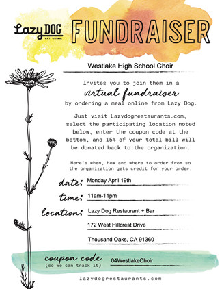Lazy Dog Fundraiser!