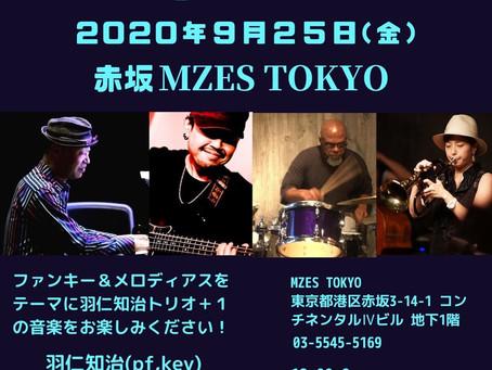 「羽仁知治トリオ+1」ライブのお知らせです。