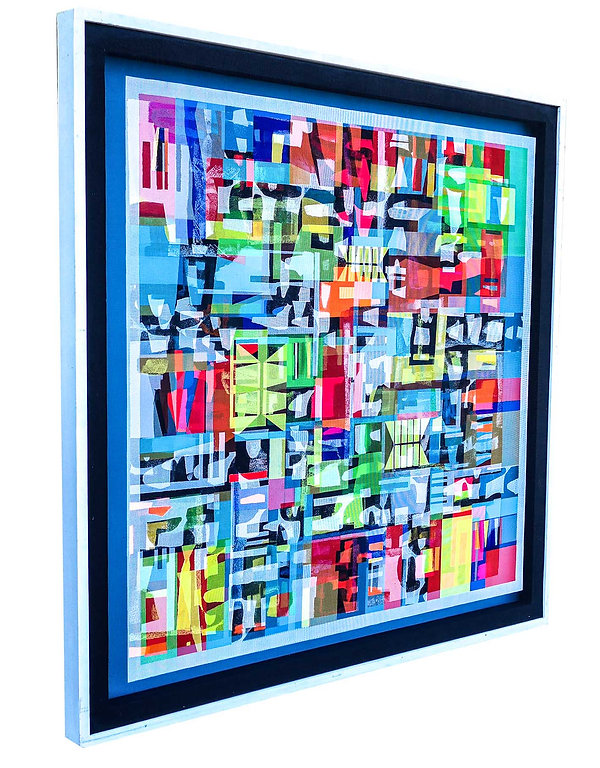 JEF BRETSCHNEIDER: LIGHT BLUE HYBRID #1 48in. x 48in Acrylic on mesh White frame