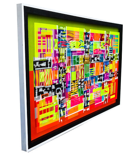 JEF BRETSCHNEIDER: (RED/YELLOW) TRANS/HYBRID ABSTRACTION 4' X 6' Acrylic on mesh White frame